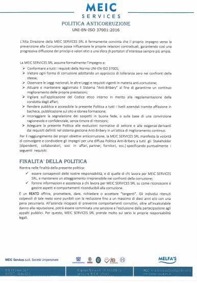 politica anti corruzione meic services